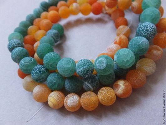 Для украшений ручной работы. Ярмарка Мастеров - ручная работа. Купить Агат кракле, 8 мм, зеленый, оранжевый. Handmade.