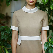 "Одежда handmade. Livemaster - original item ""Ivory sand"". Woollen beige dress with cuffs and collar, 1960-s style. Handmade."