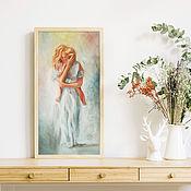 Картины и панно handmade. Livemaster - original item Mom and baby, oil painting on canvas, 30h60cm, love. Handmade.