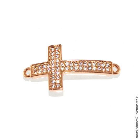 Для украшений ручной работы. Ярмарка Мастеров - ручная работа. Купить Коннектор крест с фианитами, красное золото. Handmade.