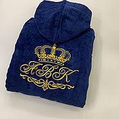 Мужская одежда handmade. Livemaster - original item Men`s velour-terry robe(100% cotton) with personalized embroidery. Handmade.