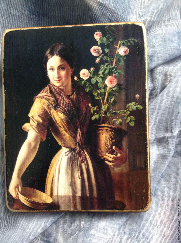 Девушка с горшком роз, Картины, Клин, Фото №1