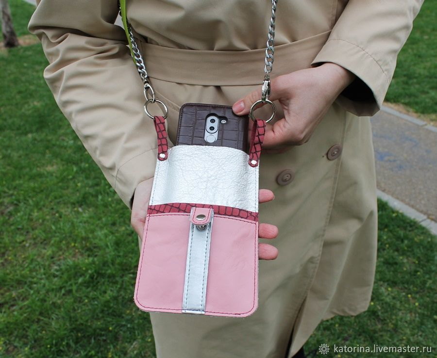 Leather Phone Case with Shoulder Strap Silver with Rose, Case, Moscow,  Фото №1