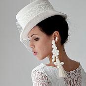 Аксессуары handmade. Livemaster - original item Bridal hat with feathers and veil. 11 cm. Color milk. Handmade.