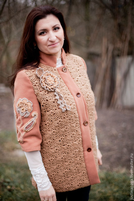 Пальто ручной работы `Цветочный кашемир`