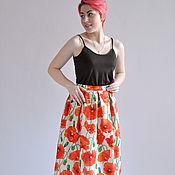 Одежда handmade. Livemaster - original item Skirt Poppies organic cotton. Handmade.