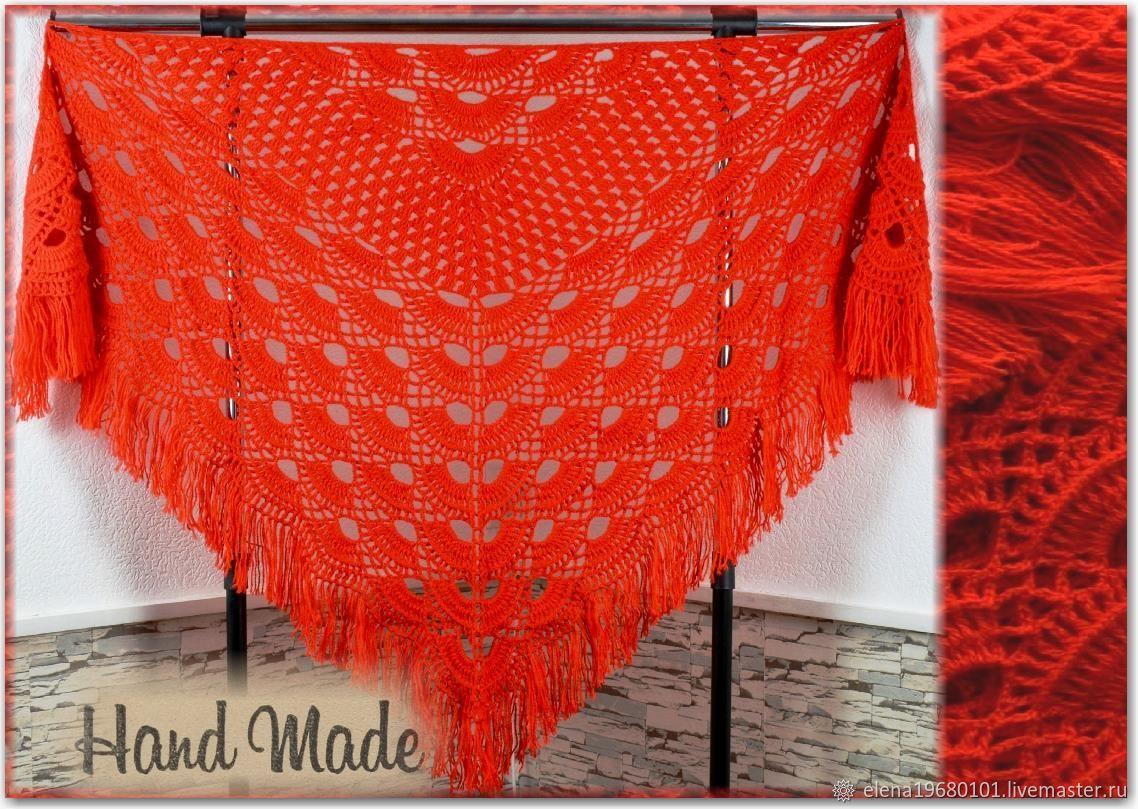 LEILA Crocheted Shawl 230*95 cm Triangular with Tassels #016, Shawls, Nalchik,  Фото №1