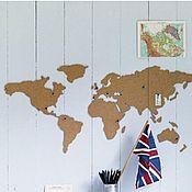 Для дома и интерьера handmade. Livemaster - original item Cork map of the world 90h40 cm. Handmade.