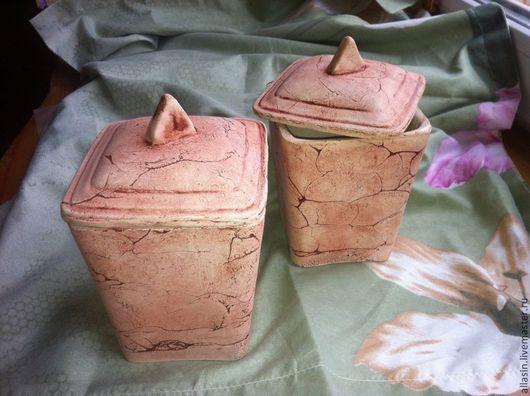 Кухня ручной работы. Ярмарка Мастеров - ручная работа. Купить Баночки для чая, специй с крышками. Керамика.. Handmade. Коричневый, керамический