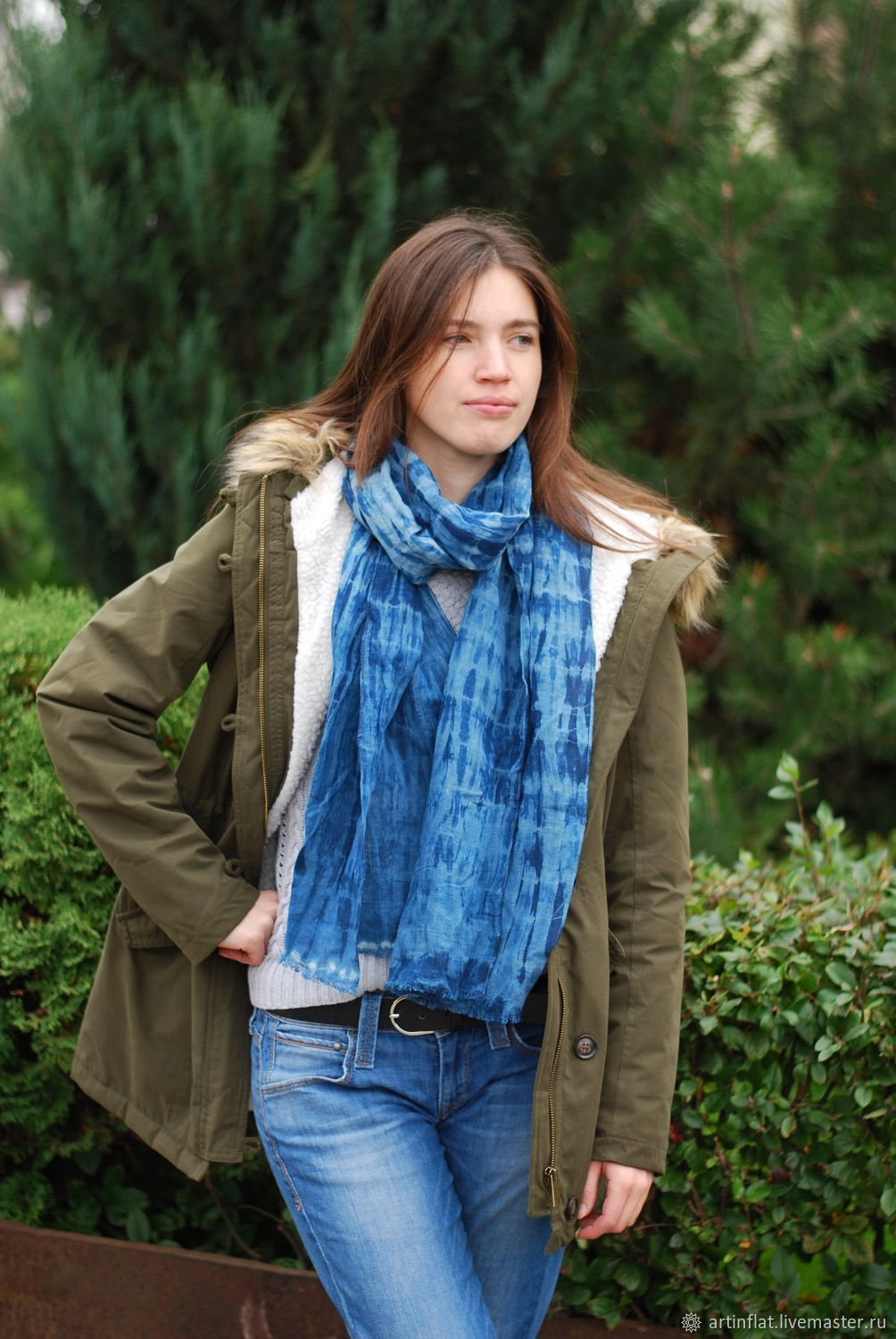 Scarf flaxen 'Water surface' striped Indigo blue and white, Scarves, Moscow,  Фото №1