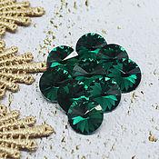 Материалы для творчества handmade. Livemaster - original item Glass rhinestones 12 mm Rivoli Emerald. Handmade.