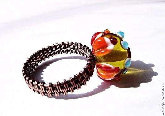 """Кольца ручной работы. Ярмарка Мастеров - ручная работа. Купить Кольцо из медной проволоки """"Алоцветик"""". Handmade. Оранжевый, кольцо из меди"""