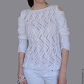 Одежда handmade. Livemaster - original item White openwork knitted jumper. Handmade.