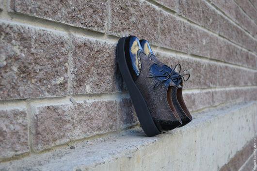 Обувь ручной работы. Ярмарка Мастеров - ручная работа. Купить Оксфорд комбинированный на платформе. Handmade. Черный, ручная работа