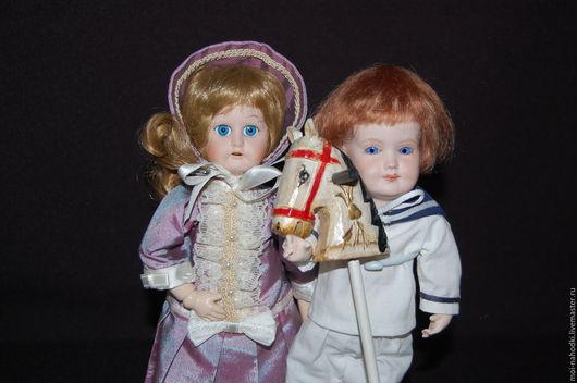 Винтажные куклы и игрушки. Ярмарка Мастеров - ручная работа. Купить Куколки с фарфоровыми головками. Handmade. Бежевый, фарфоровая кукла