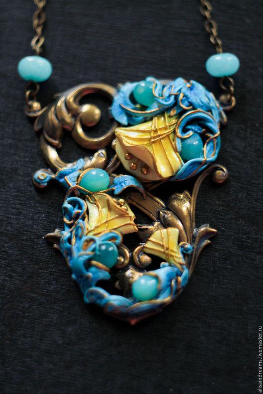 """Кулоны, подвески ручной работы. Ярмарка Мастеров - ручная работа. Купить Кулон """"Вальс цветов"""". Handmade. Бирюзовый, бирюзовый золотой"""