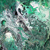 Картины и панно handmade. Livemaster - original item Painting in an abstract style in shades of green malachite. Handmade.