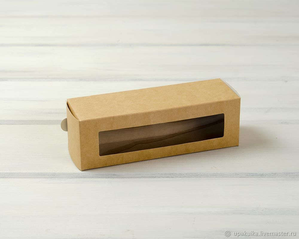 Коробка для макаронс на 6 шт, с прозрачным окошком (Арт. 0102016) Размер: 18,5х6х6 Материал: экологичный картон