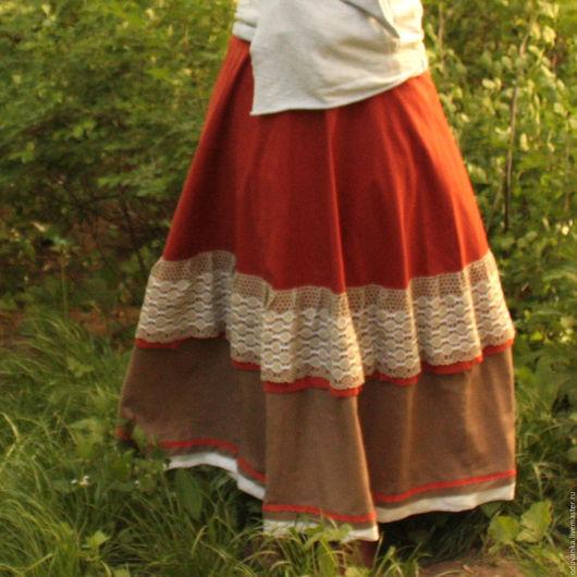 Юбки ручной работы. Ярмарка Мастеров - ручная работа. Купить Льняная юбка. Handmade. Оливковый, в клеточку, домашняя юбка