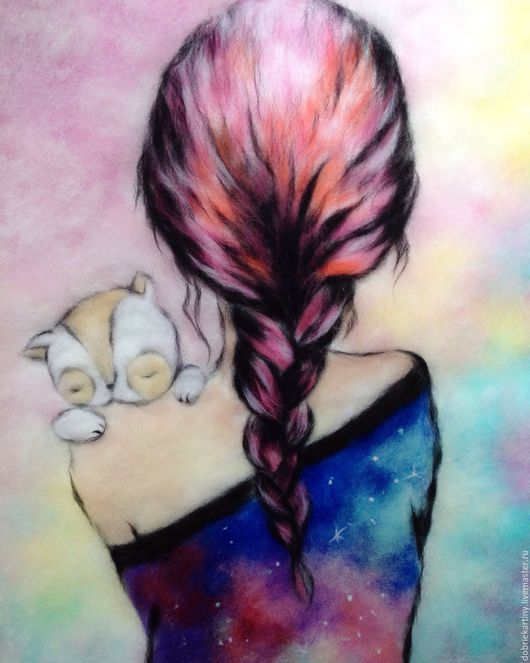 """Фэнтези ручной работы. Ярмарка Мастеров - ручная работа. Купить """"Маленькая Вселенная"""". Handmade. Розовый, котенок, косичка, картины из шерсти"""