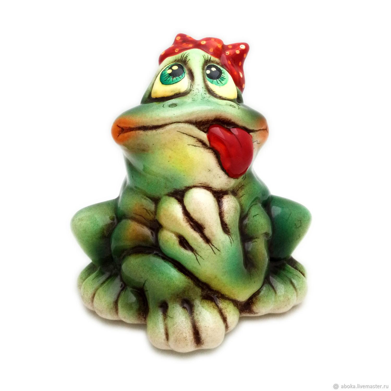 Ceramic figurine ' Frog bow and tongue', Figurine, Balashikha,  Фото №1