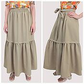 Одежда handmade. Livemaster - original item Beige floor length skirt classic wide with a belt. Handmade.