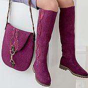 Обувь ручной работы. Ярмарка Мастеров - ручная работа Комплект - валяные сапожки (36-36,5) и сумочка. Handmade.