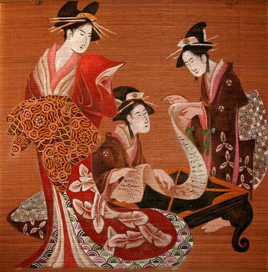 Этно ручной работы. Ярмарка Мастеров - ручная работа. Купить Панно – рулонная штора «Куртизанка». Handmade. Япония, гейша