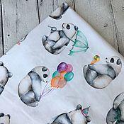 """Ткани ручной работы. Ярмарка Мастеров - ручная работа Кулирная гладь """"Акварельные панды"""". Handmade."""