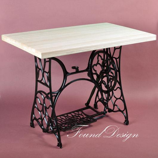 Мебель ручной работы. Ярмарка Мастеров - ручная работа. Купить Письменный стол на станине от швейной машины Pfaff. Handmade. Черный
