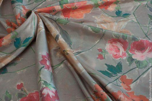 """Шитье ручной работы. Ярмарка Мастеров - ручная работа. Купить Дикий шелк """"Цветы на сером"""". Handmade. Итальянские ткани, юбка"""