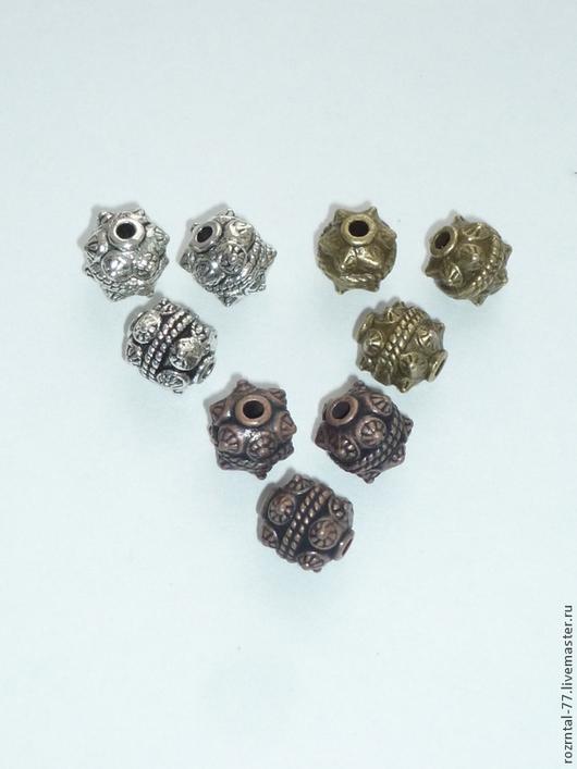 Бусины металлические `Бали `  11х10 мм Цвет: ант. серебро, ант. бронза и ант. медь.