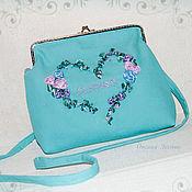 Сумки и аксессуары handmade. Livemaster - original item Turquoise denim handbag with embroidery
