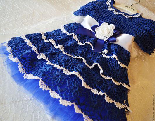 Одежда для девочек, ручной работы. Ярмарка Мастеров - ручная работа. Купить Платье для девочки крючком Василиса. Handmade. Синий