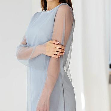 Одежда ручной работы. Ярмарка Мастеров - ручная работа Платье- сетка серовато голубого оттенка. Handmade.