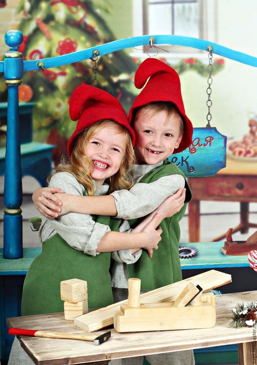 Шапки ручной работы. Ярмарка Мастеров - ручная работа. Купить Рождественское настроение. Handmade. Ярко-красный, башмачки валяные