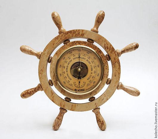 """Часы для дома ручной работы. Ярмарка Мастеров - ручная работа. Купить Барометр """"Штурвал"""". Handmade. Коричневый, барометр, барометры"""