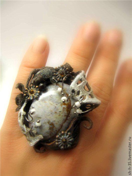 """Кольца ручной работы. Ярмарка Мастеров - ручная работа. Купить Кольцо """"Интермедия"""". Handmade. Комбинированный, коричнево-бежевый, большое кольцо"""