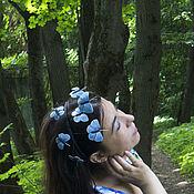 """Украшения handmade. Livemaster - original item Ободок для волос из кожи """"Голубянки"""". Handmade."""