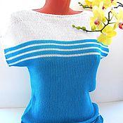 """Одежда ручной работы. Ярмарка Мастеров - ручная работа Майка  вязаная """"Веселые полосочки"""" бирюзовый цвет. майка женская. Handmade."""