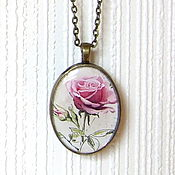 Украшения handmade. Livemaster - original item The pendant is made of Resin Purple rose Vintage pendant necklace Botanica. Handmade.