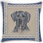 "handmade. Livemaster - original item ""Great Dane - blue"". Decorative pillow - hand-painted on natural linen. Handmade."