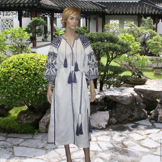 Платья ручной работы. Ярмарка Мастеров - ручная работа. Купить 2016 Вышитое льняное длинное платье Стиль Вита Кин вышиванка. Handmade.