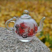 """Посуда ручной работы. Ярмарка Мастеров - ручная работа коллекционный маленький стеклянный чайник с росписью внутри -""""Китай"""". Handmade."""