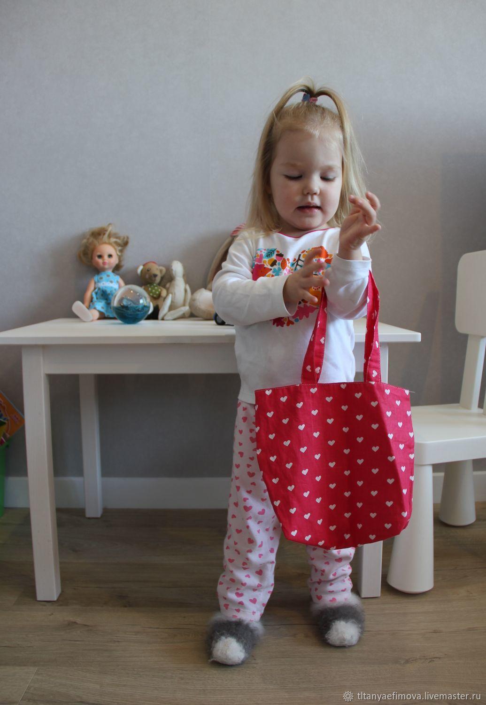 Детская сумочка Сердечки из хлопка, Сумки, Ростов,  Фото №1