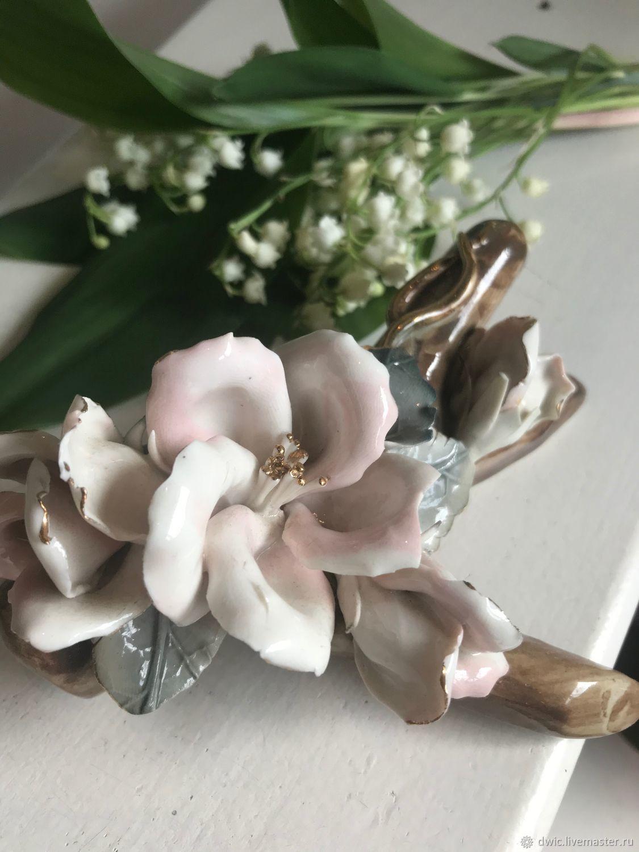 Porcelain figurine 'a Twig of wild rose', Italy, Vintage Souvenirs, Arnhem,  Фото №1