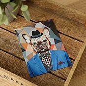 Открытки ручной работы. Ярмарка Мастеров - ручная работа Набор открыток с французским бульдогом. 4 штуки. Handmade.
