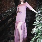 "Одежда ручной работы. Ярмарка Мастеров - ручная работа Платье ""пачка""цвет пыльная роза (пудра), рукав 3/4. Handmade."
