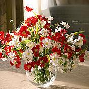 Цветы и флористика ручной работы. Ярмарка Мастеров - ручная работа Красное-белое, букет из полимерной глины-2. Handmade.