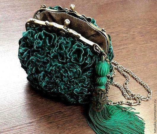 """Женские сумки ручной работы. Ярмарка Мастеров - ручная работа. Купить сумочка """"Изумруд"""". Handmade. Тёмно-зелёный, сумка вечерняя"""